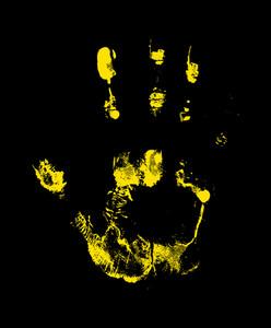 Grunge Yellow Hand Print