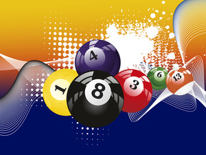Grungy Background With Colorful Billiard Balls