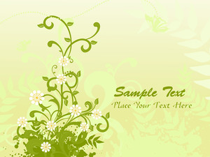 Grungy Background With Green Floral
