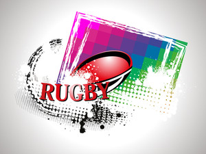 Grungy Background With Rugby Ball