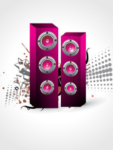 Grungy Background With Set Of Musical Speaker