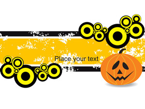 Grungy Banner With Pumpkin