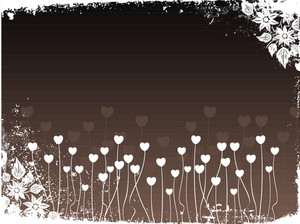 Grungy Bloom Border With Heart Tree