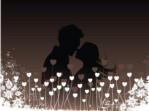 Grungy Bloom Border With Kissing Couple