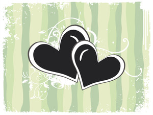 Grungy Border Background With Decorated Heart