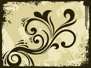 Grungy Border Background With Floral Pattern