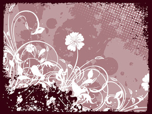 Grungy Border Background With Floral