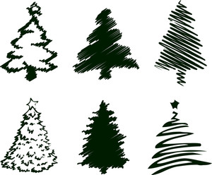 Grungy Christmas Tree Sketch Set I.
