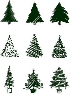 Grungy Christmas Tree Sketch Set Ii.