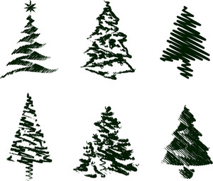 Grungy Christmas Tree Sketch Set Iii.