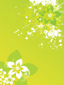 Grungy Flower With Green Bloom Background
