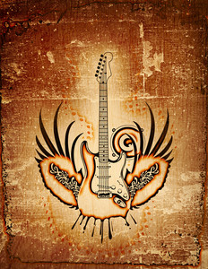 Grungy Guitar And Wings