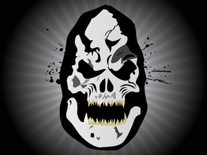 Grungy Halloween Mask On Rays Background