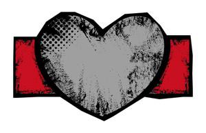 Grungy Heart Vector Banner