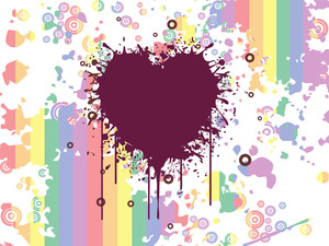 Grungy Heart With Colorful Artwork Background