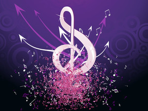 Grungy Musical Notes On Purple Background