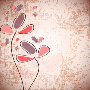 Grungy Retro Background With Beautiful Floral Decoration.
