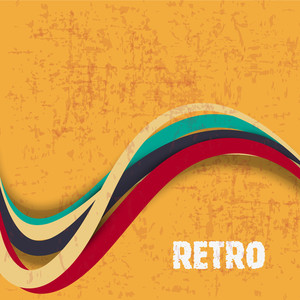 Grungy Retro Background With Creative Waves On Grungy Yellow Background.