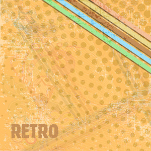 Grungy Retro Background With Polka Dots On Yellow Background.