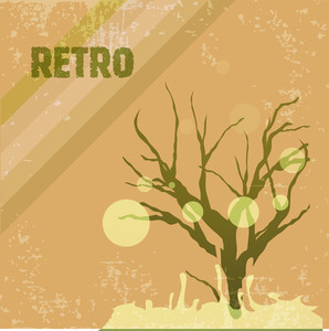 Grungy Retro Background With Tree On Yellow Grungy Background.