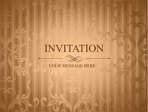 Grungy Retro Invitation Card In Brown Color With Floral Design And Copy Space For Your Message.