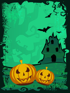 Grungy Scary Halloween Background With  Flying Bats
