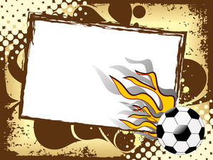 Grungy Sports Background With Fiery Football