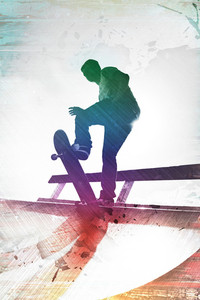 Grungy textured skateboarder silhouette with rainbow colored accents.