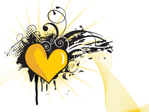 Grungy Yellow Heart Shape