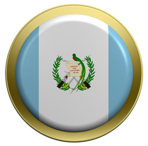 Guatemala Flag On The Round Button Isolated On White.
