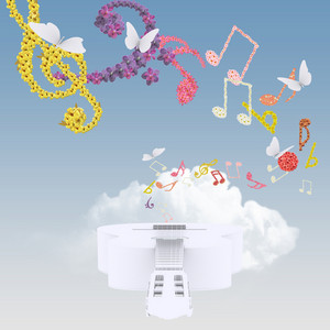 Guitar In Clouds With Music Notes