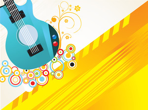 Guitar on abstract design decorated beige and yellow background.