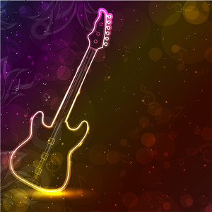 Guitar With Neon Lights On Colorful Grungy Background.