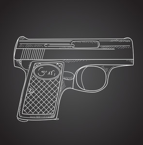 Gun Doodle On Black Background