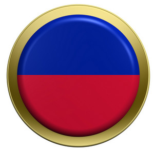 Haiti Flag On The Round Button Isolated On White.