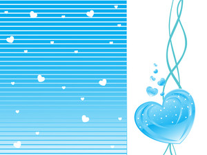 Halftone Background With Blue Heart