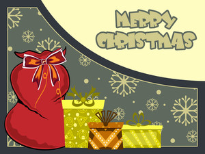 Halftone Background With Santa Claus Gift Bag