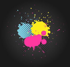Halftone Colored Splashes