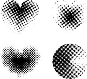 Halftone Hearts And Circle