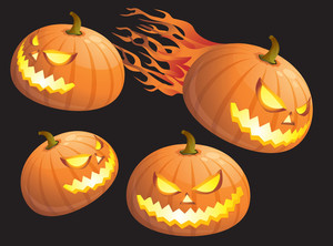 Hallooween Pumpkin Icon Set. Vector.
