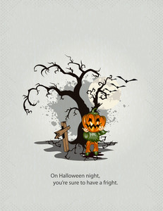 Halloween Background With Pumpkin Vector Illustration