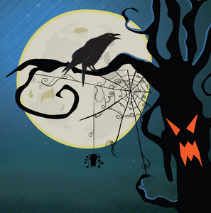 Halloween Background With Raven Vector Illustration