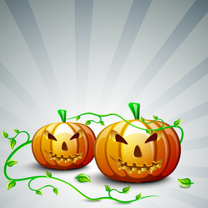 Halloween Background With Scary Pumpkins.