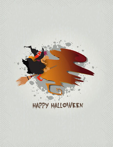Halloween Background With Witch Vector Illustration