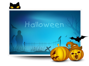 Halloween Banner With Scary Pumpkins And Black Cat