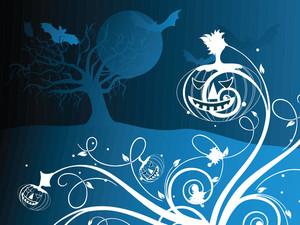 Halloween Blue Background Illustration