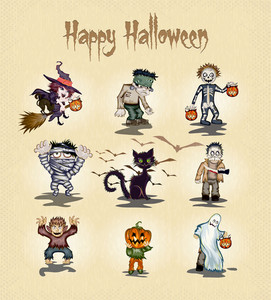 Halloween Characters Vector Illustration