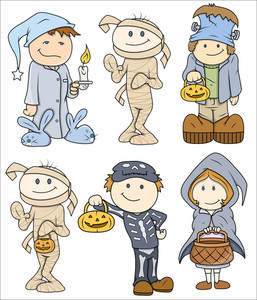 Halloween Cute Kids Vector Illustration
