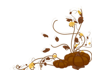 Halloween Floral Pumpkin Vector