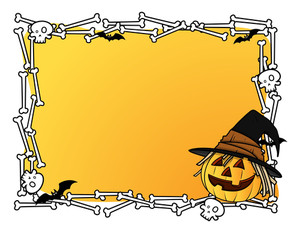 Halloween Frame With Jack-o-lantern Vector